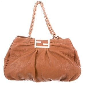 Fendi Large Cinnamon Leather Hobo Shoulder Bag